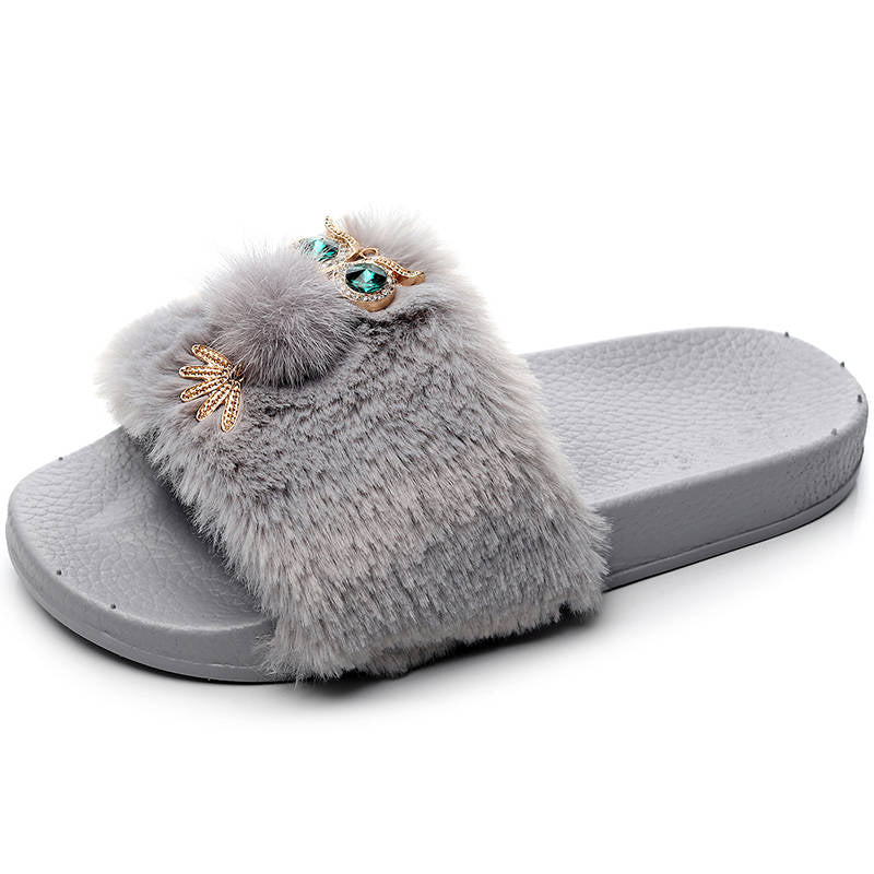 Women Cute Fuzzy Fur Gemstone Decor Open Toe Slip On Slippers