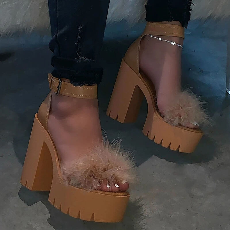 Women Fashion Large Size Fluff Buckle Platform Sandals