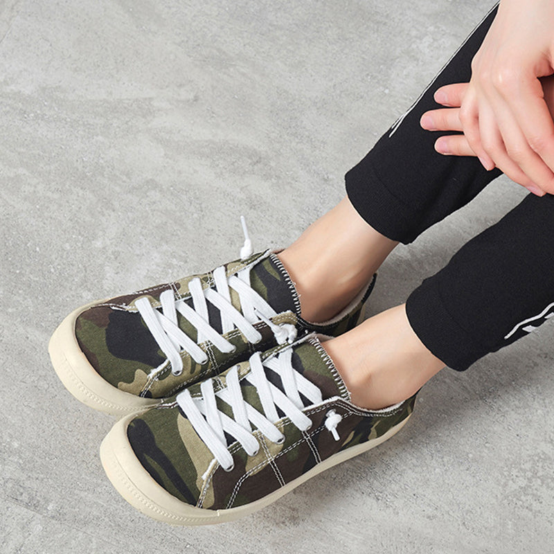 Women Casual Canvas Flat Heel Sneakers