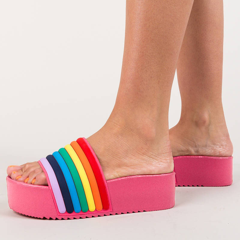 Women Gorgeous Rainbow Stripes Open Toe Slip On Platform Slippers