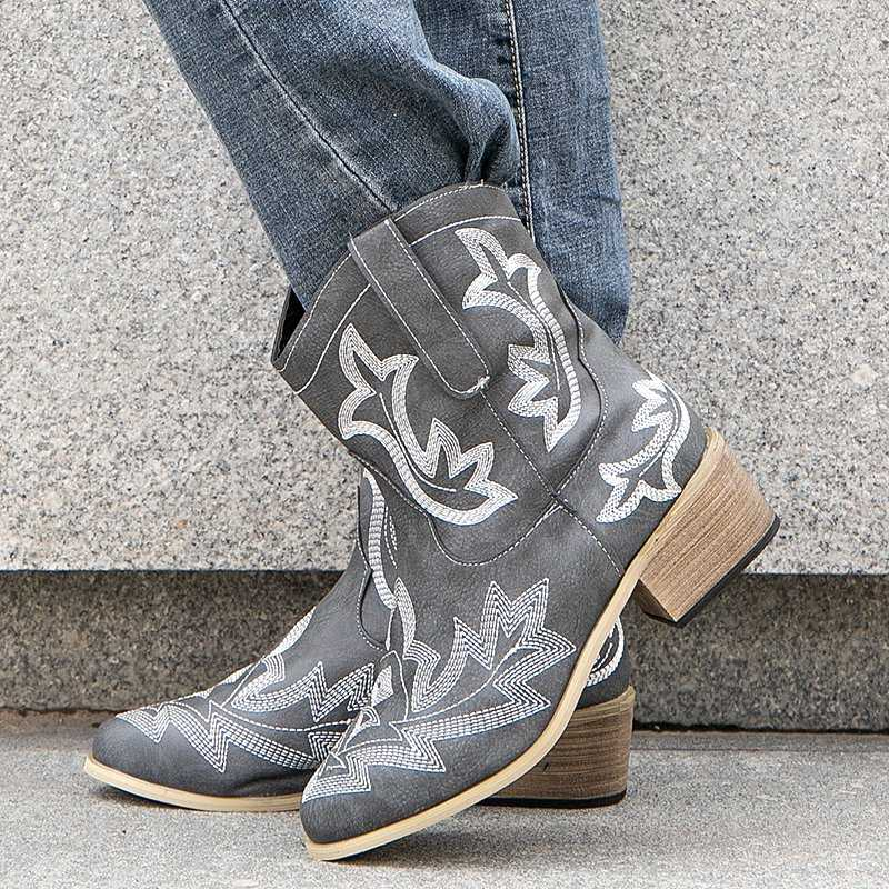 Women National Embroidery Slip On Chunky Heel Cowboy Boots
