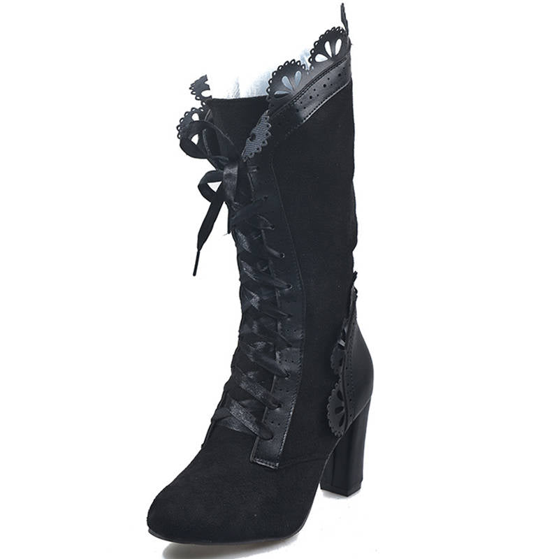 Women Retro Suede Halloween Lace Up Mid Heel Boots