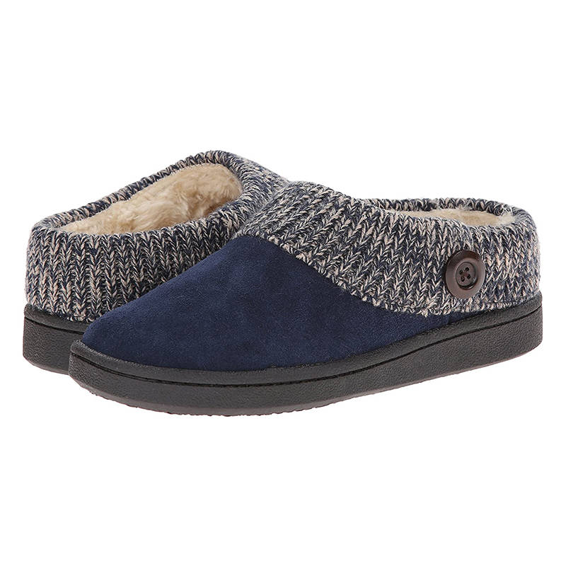 Women Warmth Artificial Suede Knitting Split Joint Buttoned Slip On Cotton Slippers
