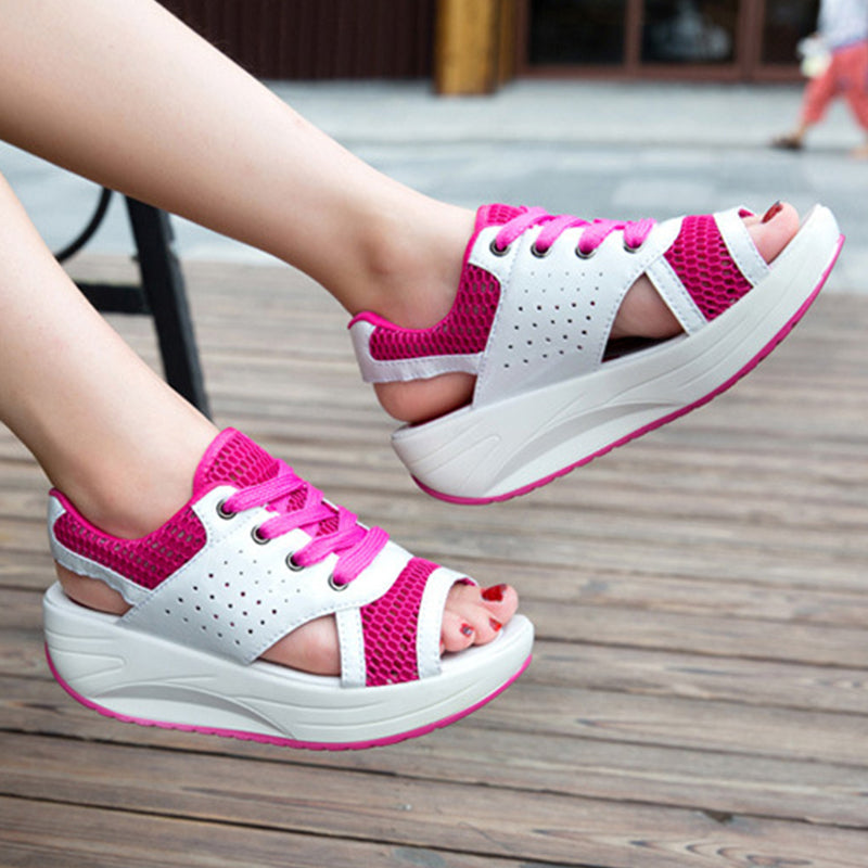 Women Casual Wedge Heel Lace Up Sandals
