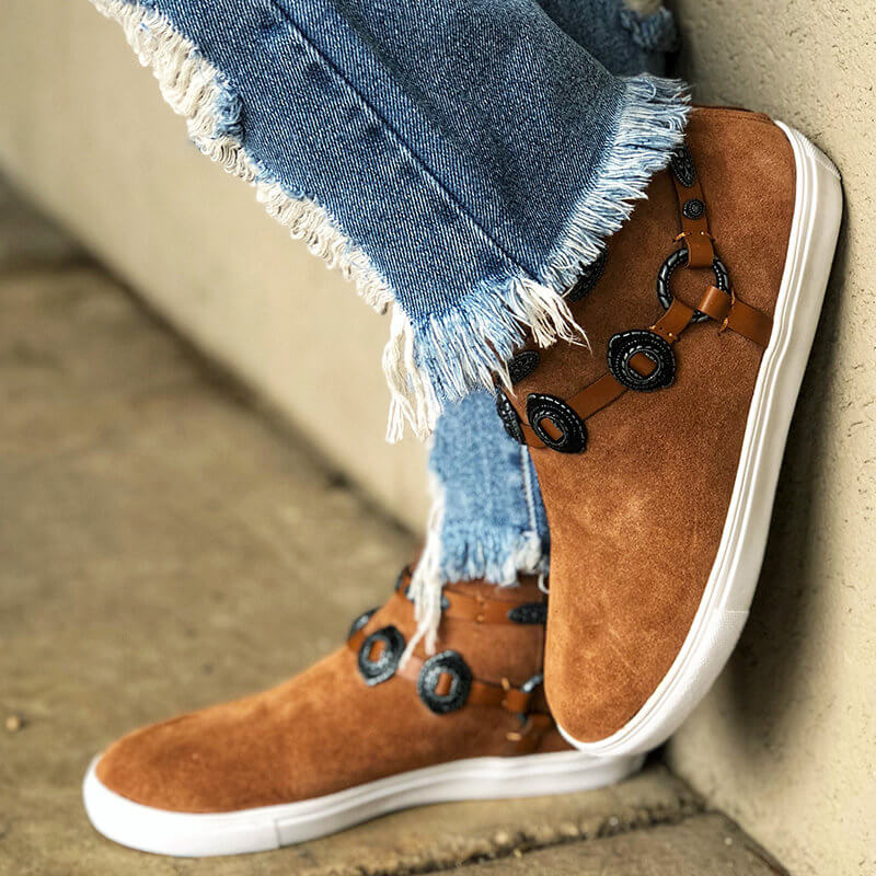 Women Retro Suede Slip On Flat Heel Boots With Accessories