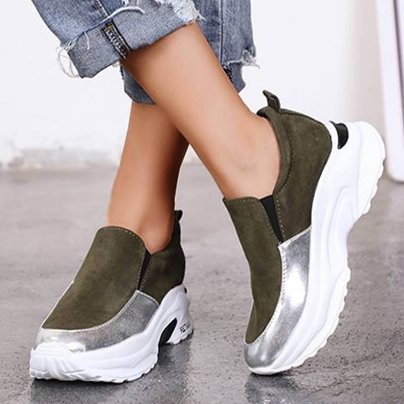 Women Modern Suede Hit Colors Platform Slip On Loafers