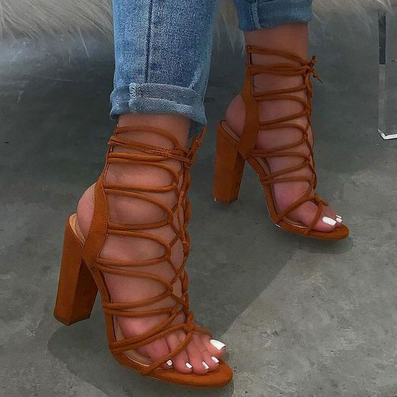 Women Fashion Open Toe Lace-up High Heel Sandals
