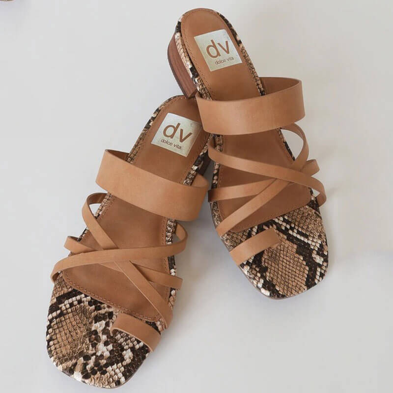 Women Snakeskin Cross-strap Thongs Slip On Chunky Heel Slippers