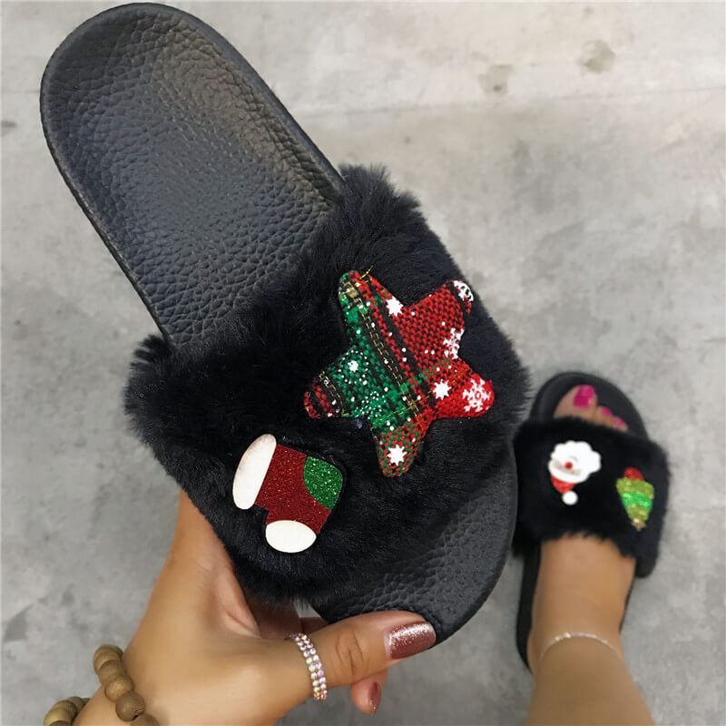 Women Cute Fur Hit Color Slip On Slippers