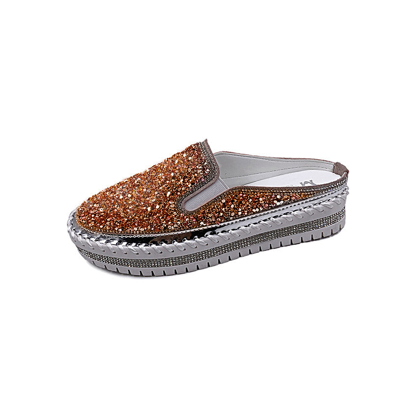 Women Casual Large Size Shining Rhinestone Slip-on Loafers