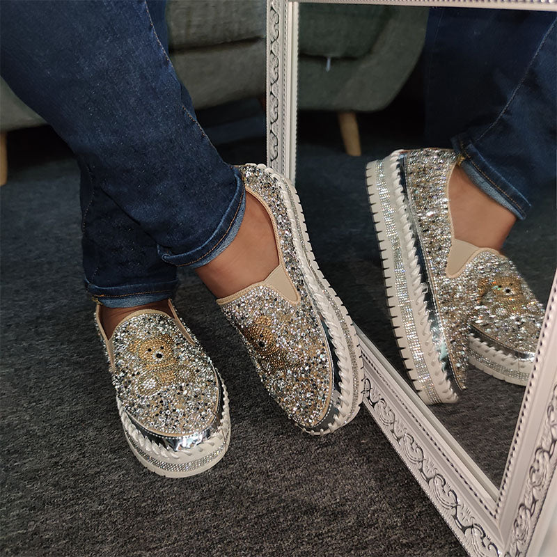 Women Bear Pattern Rhinestone Flat Shoes