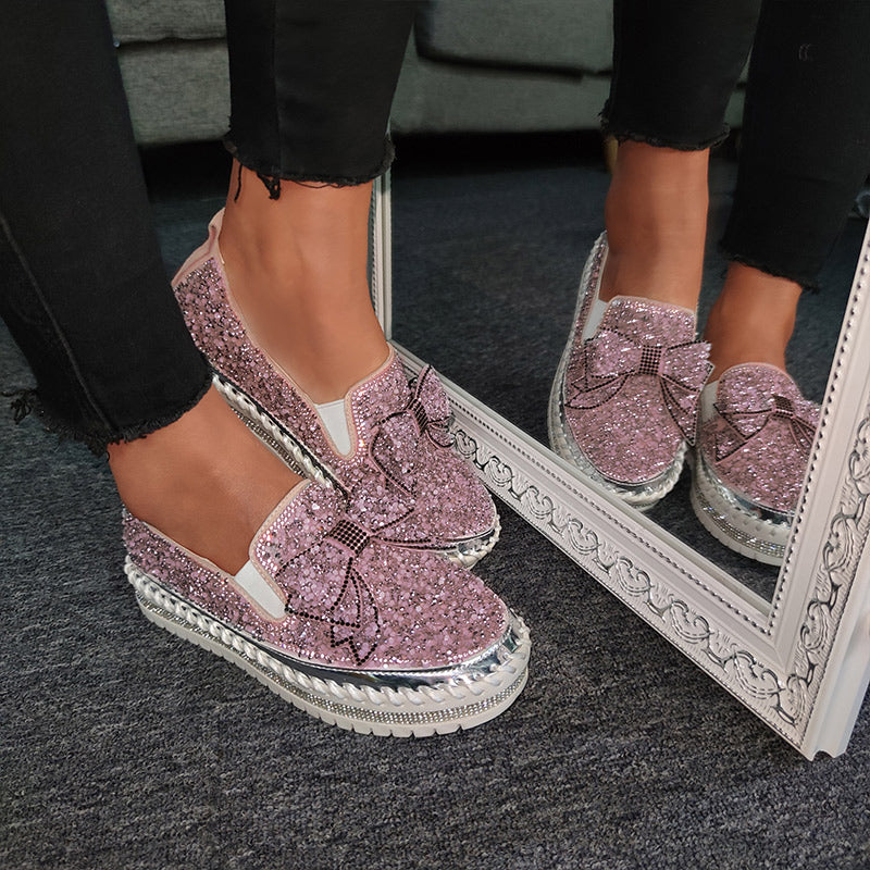 Women Shining Rhinestone Slip-on Loafers with Cute Bowknot