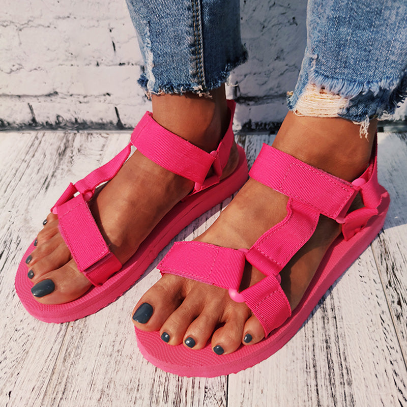 Women Casual Large Size Summer Magic Tape Comfy Flat Sandals