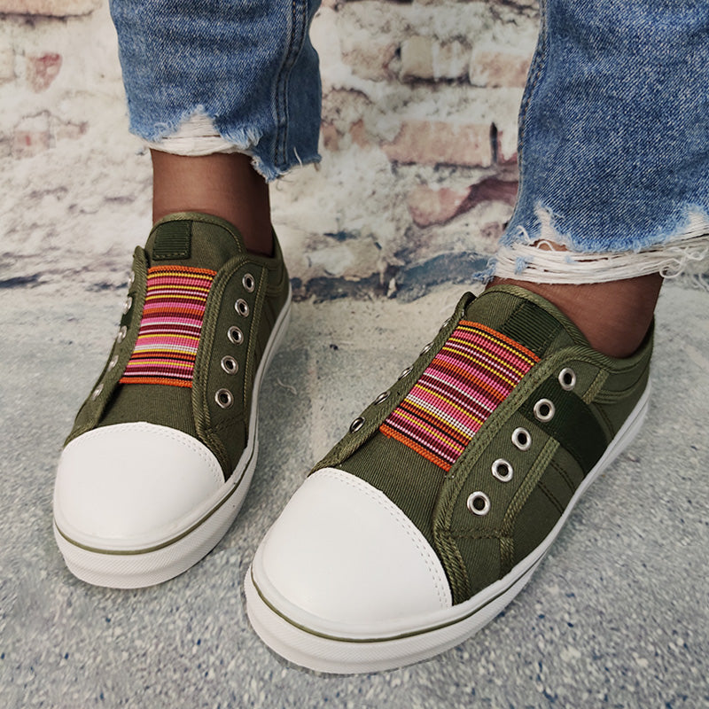 Women Casual Plus Size Canvas Multicolor Gore Sneakers