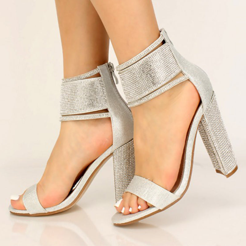 Women Fashion Silver Rhinestone Shimmery Chunky High Heels