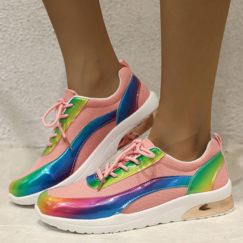 Women Fashionable Mesh Colorful Split Joint Breathable Lace Up Sneakers