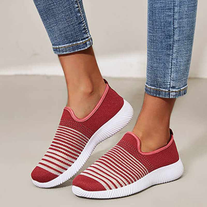 Women Casual Stripe Contrast Color Breathable Flat Sneakers