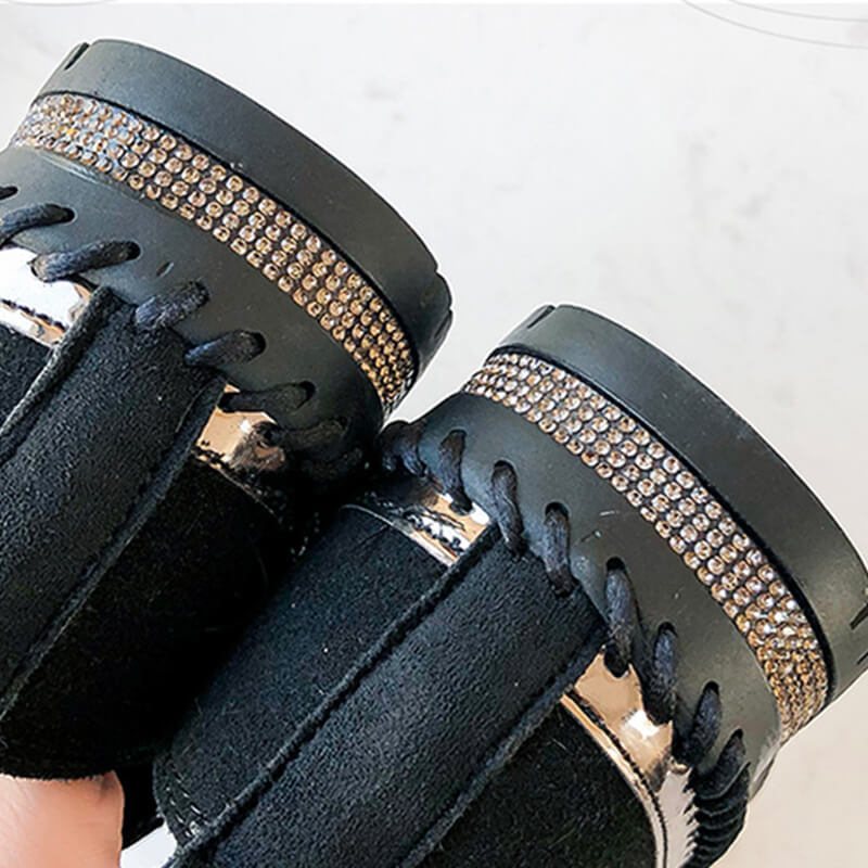 Women Star Pattern Rhinestone Slip On Flat Shoes