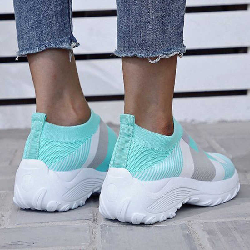Women Flyknit Fabric Breathable Hit Colors Slip On Platform Sneakers