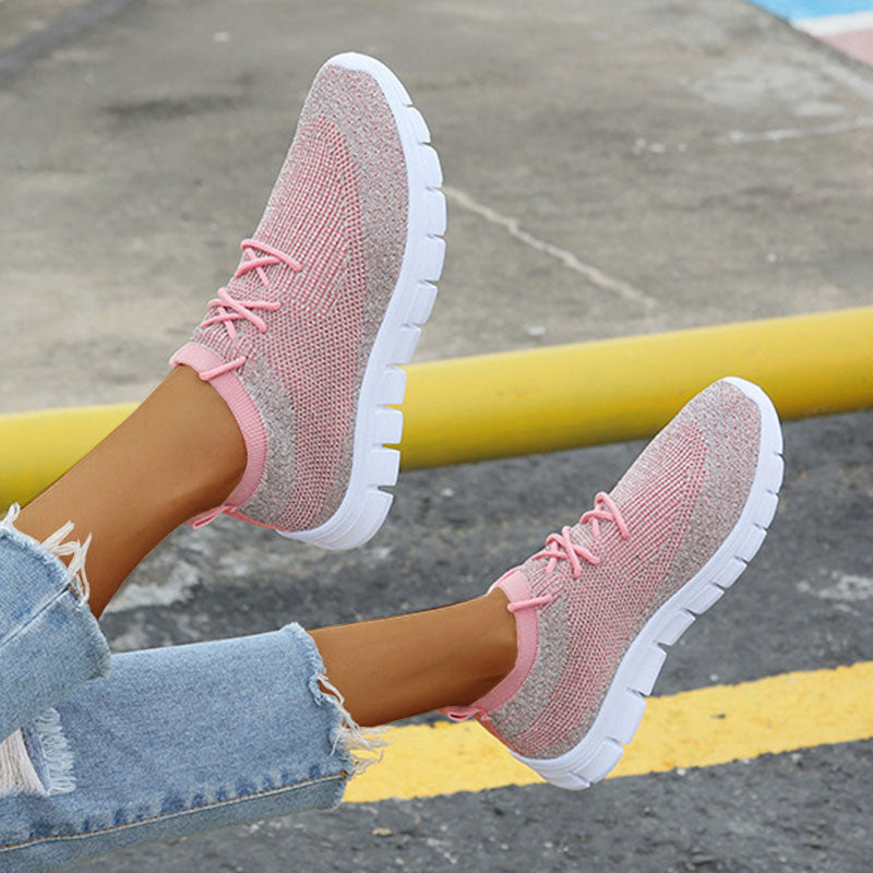 Women Casual Athletic Flyknit Fabric Slip On Flat Heel Sneakers