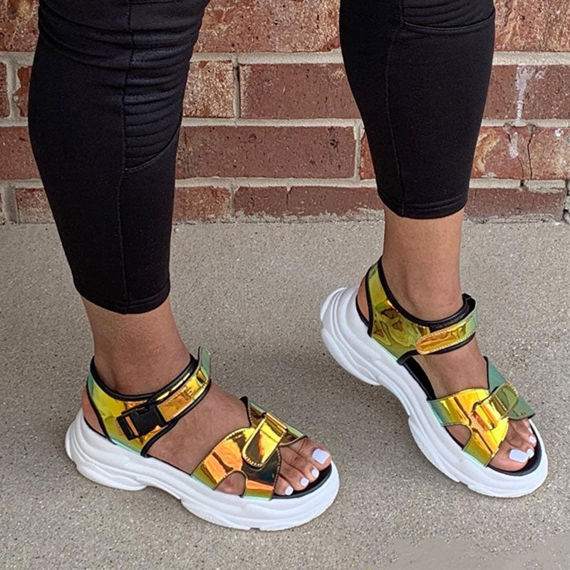 Women Trendy Reflective Open Toe Velcro Platform Sandals