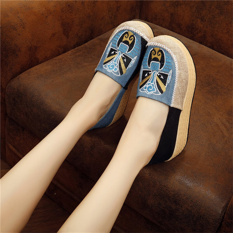 Women Linen National Hit Color Slip On Creepers Platform Shoes