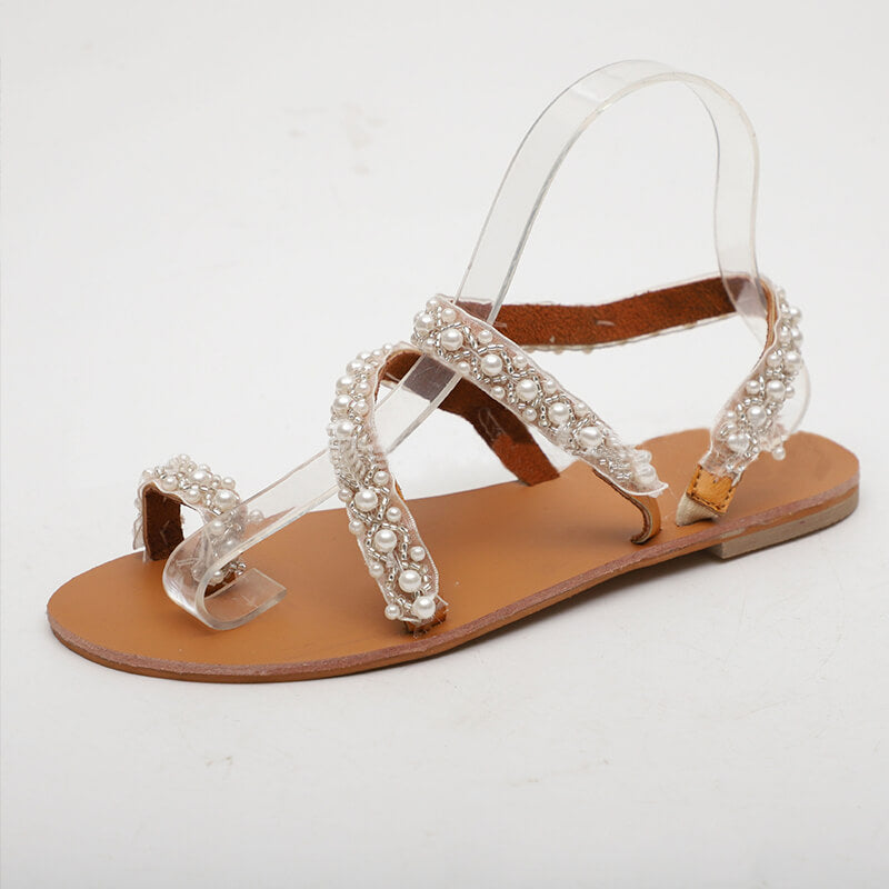 Women Casual Pearl Toe Ring Slip On Flat Sandals