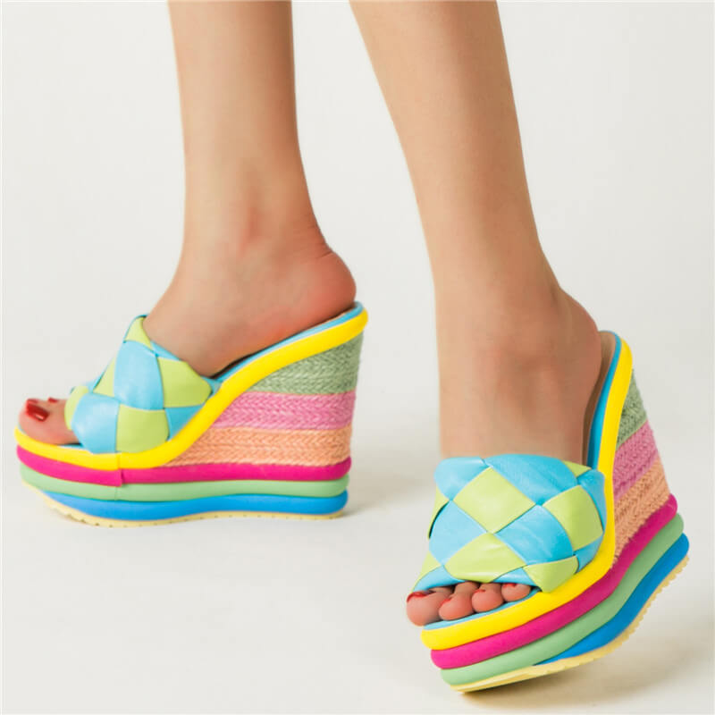 Women Casual Multiolor Stripe Lattice Open Toe Wedge Heel Slippers