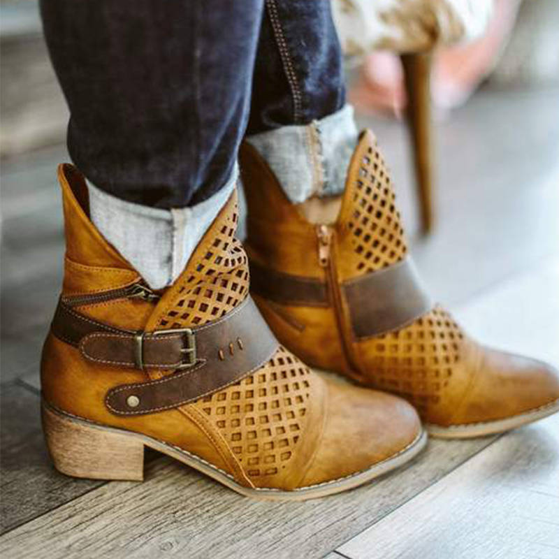 Women Retro Buckle Decor Split Joint Hollow-out Zipper Chunky Heel Ankle Boots