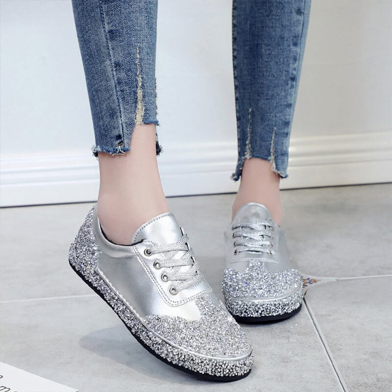 Women Fashion Rhinestone Lace Up Sneakers