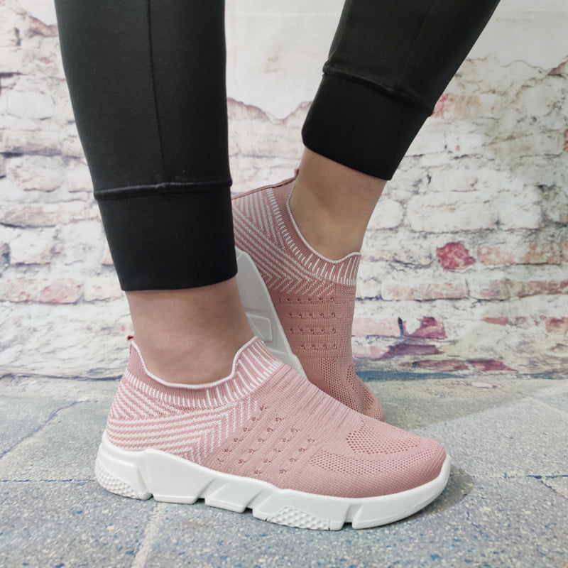 Women Flyknit Fabric Hit Color Slip On Platform Sneakers