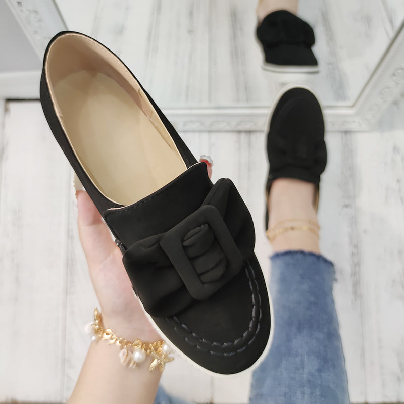 Women Suede Bowknot Slip On Flat Heel Skate Shoes