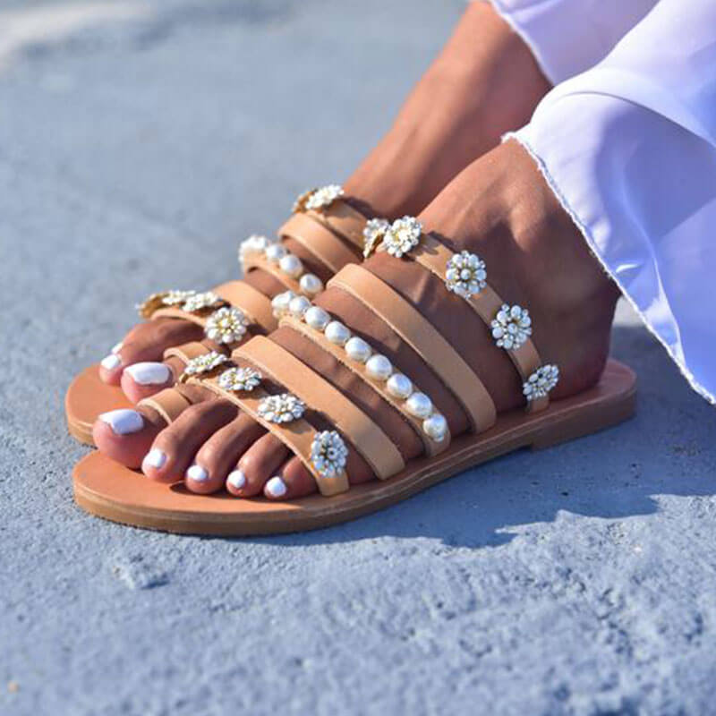 Women Rhinestones Pearl Open Toe Slip On Flat Heel Slippers