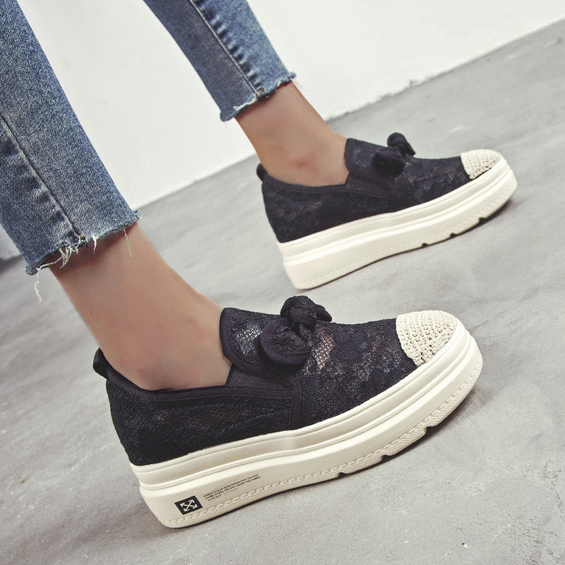 Women Fashion Lace Bowknot Flat Loafers