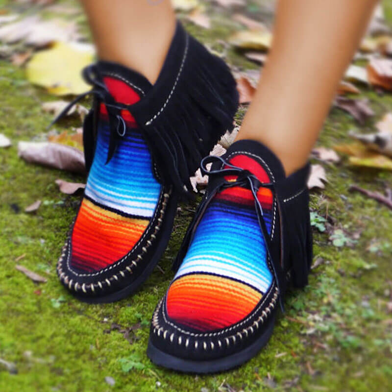 Women Retro Suede Tassel Stripe Hit Color Lace Up Flat Heel Boots