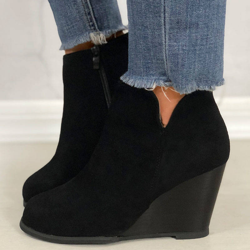 Women Daily Zipper Wedge Heel Booties