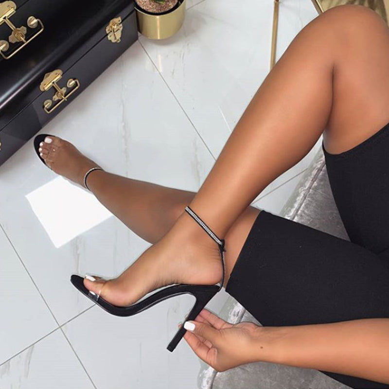 Women Fashion Rhinestone Buckle Slip On Stiletto Heell Sandals