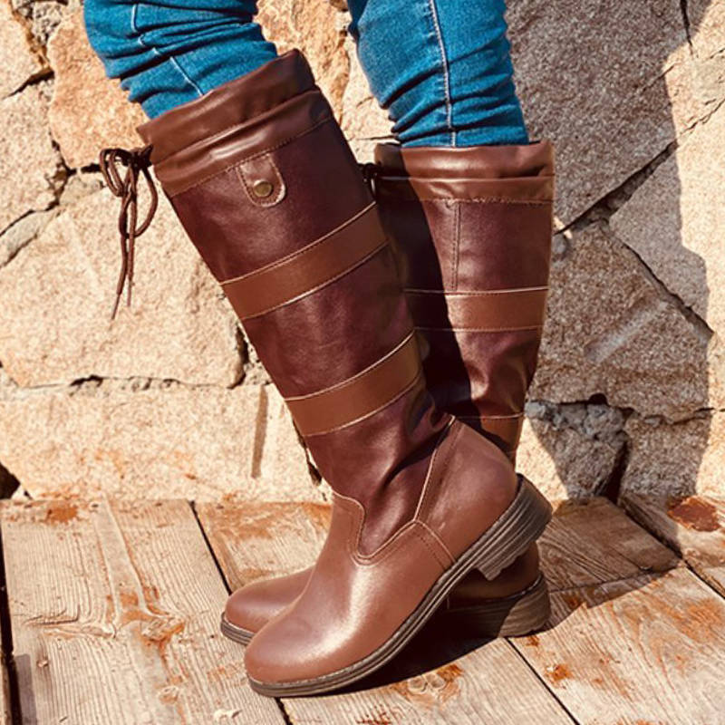 Women Simple Lace Up Slip On Chunky Heel Riding Boots