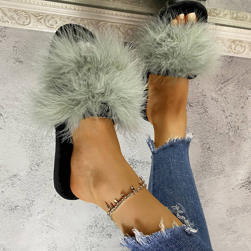 Women Stylish Fluffy Faux Fur Open Toe Slip On Flat Heel Slippers