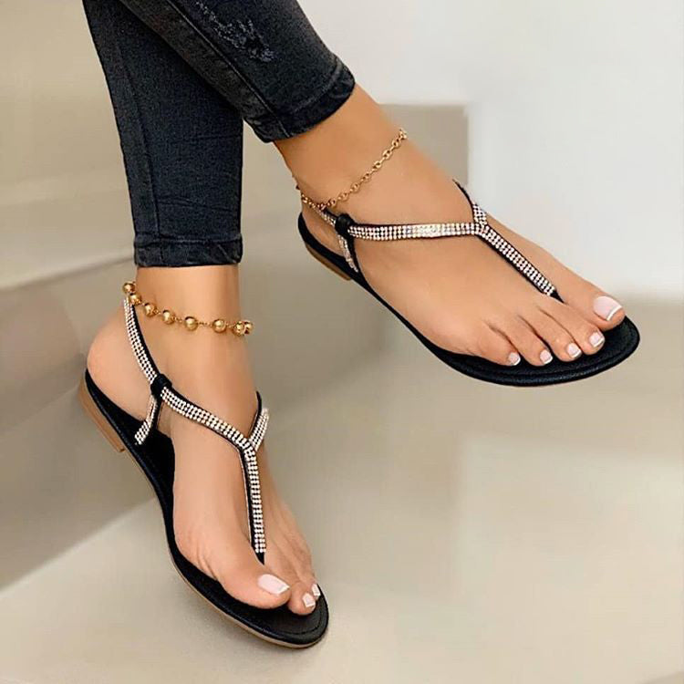 Women Rhinestones Thongs Buckle Strap Flat Heel Sandals