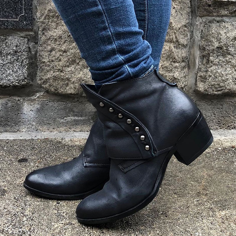 Women Simple Casual Zipper Chunky Heel Beading Boots