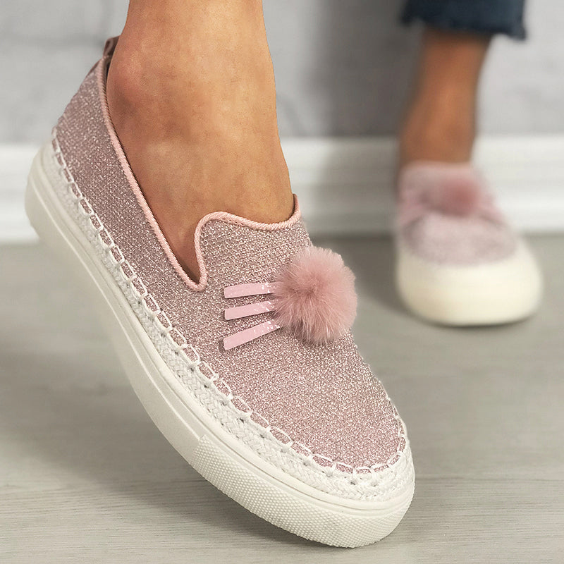 Women Bright Sequin Slip On Platform Loafers