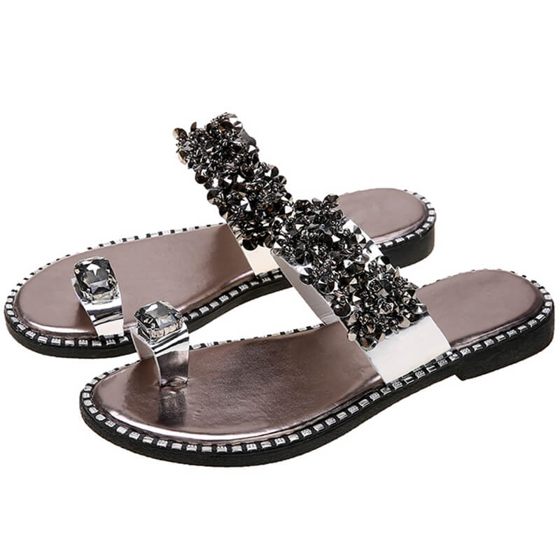 Women Large Size Fashion Rhinestone Toe Ring Slippers