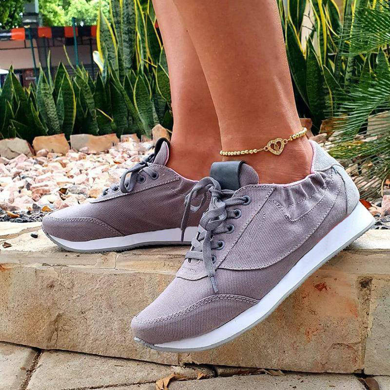 Women Stylish Denim Lace Up Gore Sneakers
