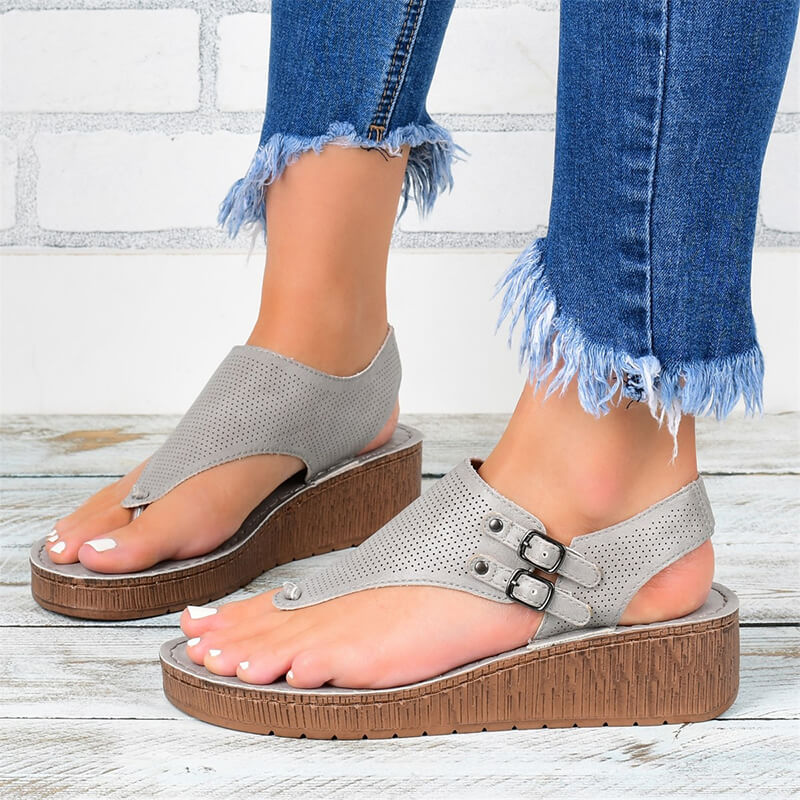 Women Casual Roman Hollow Out Ankle Strap Wedge Sandals