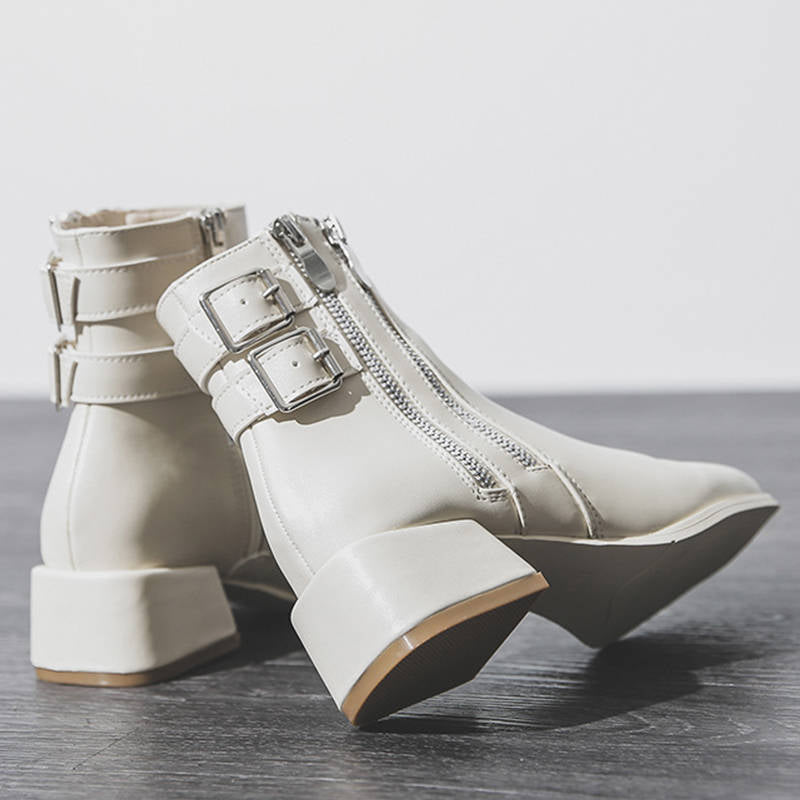 Women Trendy Buckle Strap Square Toe Zipper Chunky Boots