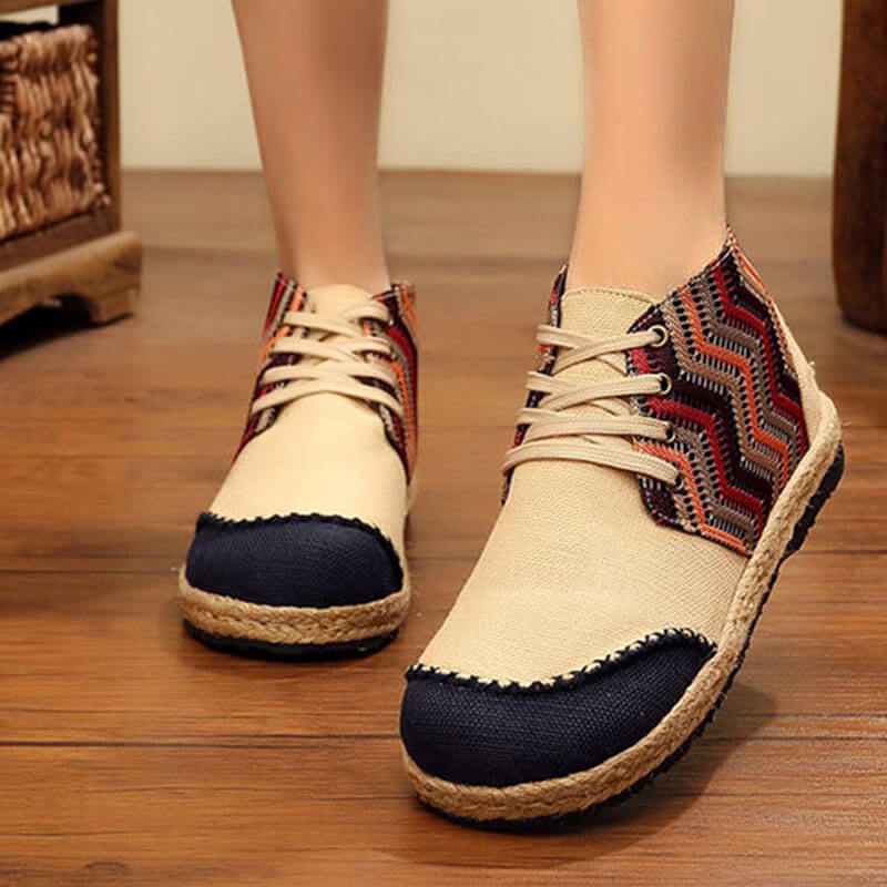 Women National Espadrille Lace-up Flat Heel Ankle Boots