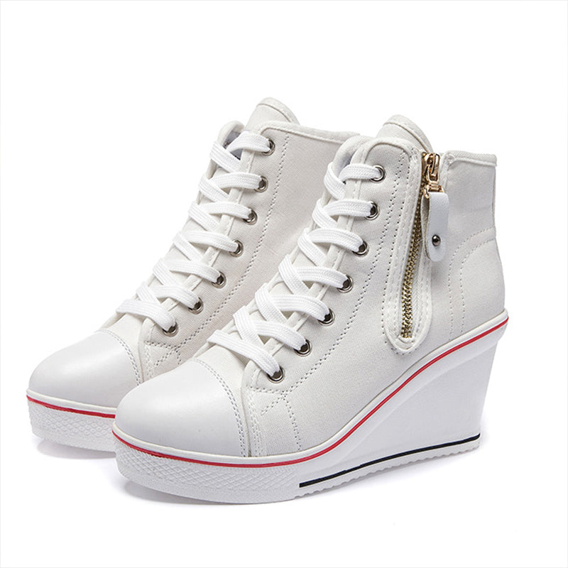 Women Canvas Zipper Chunky Heel Sneakers