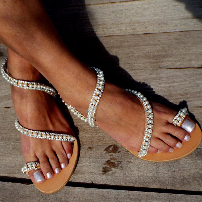 Women Casual Large Size Wedding Beaded Sandals