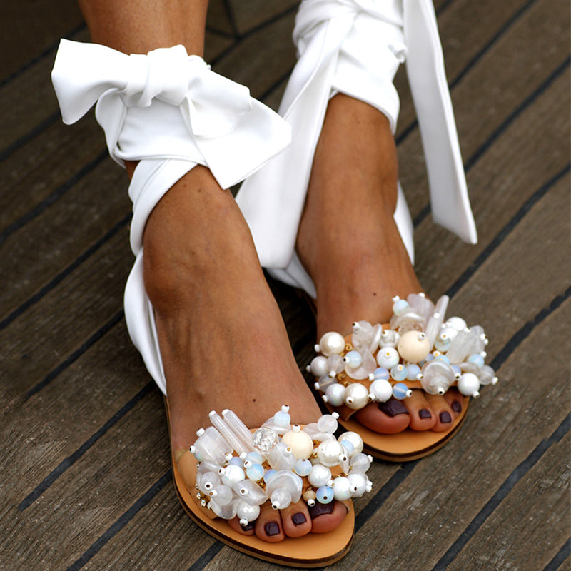 Women Casual Pearl Ankle Strap Flat Wedding Sandals